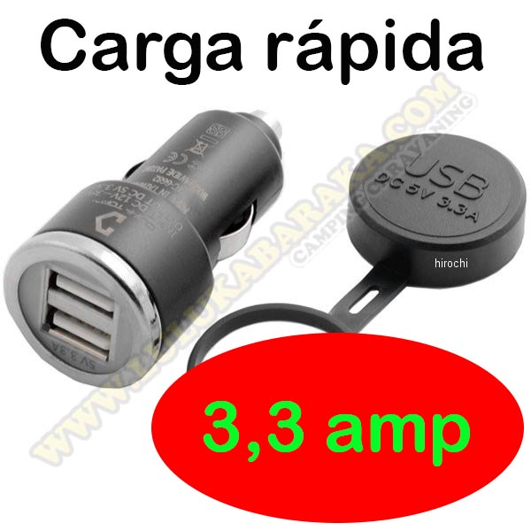 Conector mechero USB 2x3,3amp